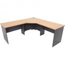 Rapid worker complete corner desk 1200 x 1500 x 600mm beech/ironstone