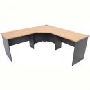 Rapid worker complete corner desk 1200 x 1800 x 600mm beech/ironstone
