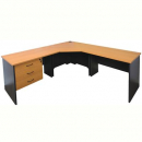 Rapid worker complete corner desk 1200 x 2100 x 600mm cherry/ironstone
