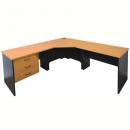 Rapid worker complete corner desk 1200 x 2100 x 600mm cherry/ironstone