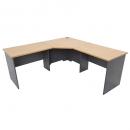 Rapid worker complete corner desk 1800 x 1500 x 600mm beech/ironstone