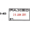 Shiny self inking datestamp with message 'FAXED'