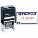 Shiny self inking date stamp with message 'APPROVED'