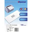Unistat 38937 multipurpose label 14 per aheet 98x38mm box 100 sheets
