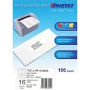 Unistat 38942 multipurpose label 16 per sheet 99x34mm box 100 sheets