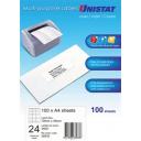 Unistat 38933 multipurpose labels 24 per sheet 70 x 36mm box 100 sheets
