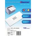 Unistat 38935 multipurpose label 30 per sheet 64x25.4mm box 100 sheets
