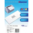 Unistat 38931 multipurpose label 33 per sheet 70x25mm box 100 sheets