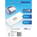 Unistat 38938 multipurpose label 2 per sheet 148x210mm box 100 sheets