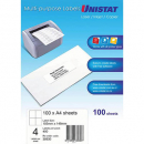Unistat 38930 multipurpose label 4 per sheet 105x148mm box 100 sheets