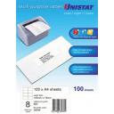 Unistat 38934 multipurpose label 8 per sheet 105x74mm box 100 sheets