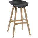 Rapidline virgo bar stool oak coloured timber frame with polypropylene shell seat black