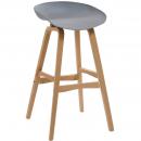 Rapidline virgo bar stool oak coloured timber frame with polypropylene shell seat grey