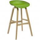 Rapidline virgo bar stool oak coloured timber frame with polypropylene shell seat lime