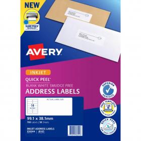 Avery 936044 J8163 inkjet white address labels 14 per sheet 99.1 x 38.1mm pack 50 sheets #AJ8163