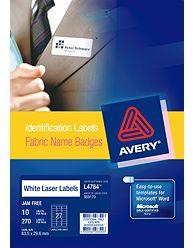 Avery 959170 L7484 laser acetate silk name badge labels 27 per sheet 63.5 x 29.6mm pack 10 sheets #AL7484