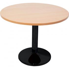 Rapidline round table black disc base 900mm beech #RLBBT900B