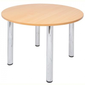 Rapid worker round chrome leg table 900mm beech #RLCRT9B