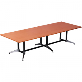 Rapidline typhoon boardroom table 3200 x 1200 x 750mm cherry #RLTTR3212C