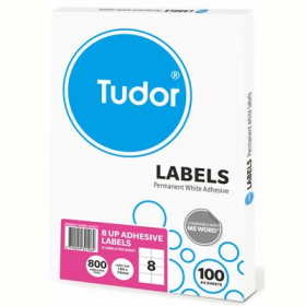 Tudor multi purpose labels 8 per sheet 105 x 74mm box 100 sheets #141071