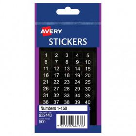 Avery 932443 multi-purpose stickers numbers 1-500 pack 500 #A932443